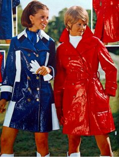 and vinyl coats to match our boots ! Rain Fashion, 60s And 70s Fashion, Mod Fashion, Colorful Fashion, Fashion Models, Vintage Fashion, Fashion Outfits, Womens Fashion, Vintage Outfits