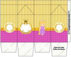 Caixa de Leite Princesa Loira Princess Rapunzel, Cutting Board, Decoupage, Milk Box, Party Kit, Kids Part, Blond, Cutting Boards
