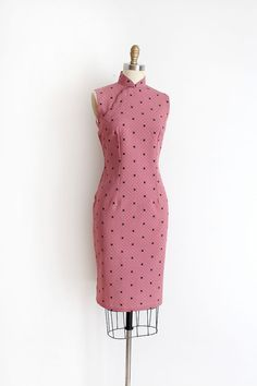 vintage 1960s Cheongsam dress // 60s pink star Qipao by TrunkofDresses