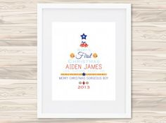 Celebrating baby's first Christmas is a very exciting time, and with this gorgeous personalised print you can keep the memory as a cherished keepsake. This print also makes a unique gift for someone special.  All prints to suit 8 x 10″ frame and are printed on 220gsm gloss white card.