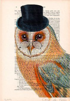 owl book page art by Cocodeparis, $10.00