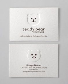 Business Card for: Teddy Bear. With embossing