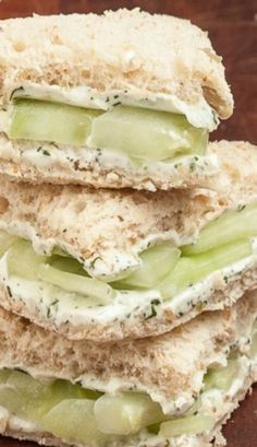 Lemony Cucumber Cream Cheese Sandwiches - The perfect shower, lunch, or brunch finger food. Yes for spring and summer! This links to egg salad sandwich recipie as well. Vegetarian Recipes, Cooking Recipes, Healthy Recipes, Vegetarian Sandwiches, Vegetarian Breakfast, Breakfast Recipes, Mexican Recipes, Healthy Cooking, Vegetable Recipes