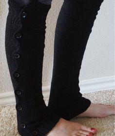 Button Down Knit Leg Warmers - Black