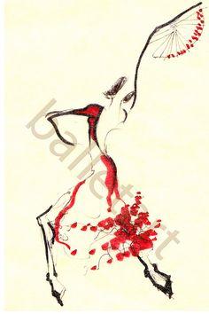 Spanish dancer by BalletArt on Etsy Dancer Drawing, Figure Drawing, Ballet Art, Ballet Dancers, Spanish Dancer, Dance Paintings, Dance Gifts, Fashion Wall Art, Ap Art