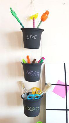 DIY Organizer from yogurt packages #diy #kendinyap #organizer #office #desk
