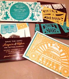 papel picado wedding invites. Graphic Designers: Señor y Señora Fine Paper Goods