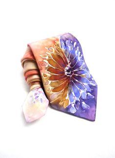 Men NeckTie. Hand Painted Silk Tie. Gift for Him. Multicolour Silk Tie. Purple Orange Flower Tie. OOAK Silk Tie.
