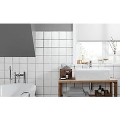 Wickes White Ceramic Wall Tile 150 x Large White Tiles, White Square Tiles, White Wall Tiles, White Bathroom Tiles, Wall And Floor Tiles, White Walls, Paint Bathroom, Wet Room Flooring, Slate Flooring