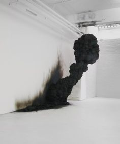Black smoke art installation
