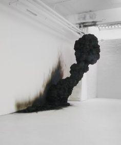 Black smoke art installation