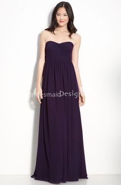 simple purple chiffon strapless floor length empire a-line bridesmaid dress