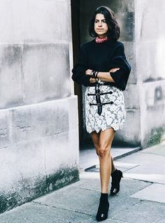 Wear your chunky sweater with a lacy miniskirt and be sure to push up the sleeves. The short hemline of the skirt will be enough to keep you cool.