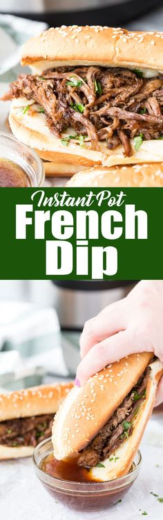Instant Pot French Dip: Decadent and flavorful french dip sandwiches made in the Instant Pot pressure cooker for a quick and flavorful meal. via @Rachael Yerkes