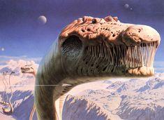 "Richard Clifton-Dey's ""Behemoth's World,"" used on the cover to Blue Öyster Cult's 1980 album ""Cultösaurus Erectus. Alien Creatures, Fantasy Creatures, Mythical Creatures, Sea Creatures, Arte Sci Fi, Art Science Fiction, Godzilla, Sci Fi Wallpaper, Blue Oyster Cult"