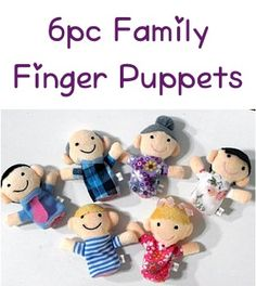6pc Family Finger Puppets Set: 1.99 + FREE shipping! {fun little gifts for the kids, or add them to their busy bags as a road trip surprise!}