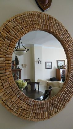 I made this huge cork mirror with donated used corks and a yard sale mirror. I used plywood to give it dimension. Liquid nails and a singular small nail hold on each cork. Diy Home Crafts, Diy Home Decor, Diy Casa, Diy Mirror, Sunburst Mirror, Wall Mirrors, Creation Deco, Diy Furniture, House Design