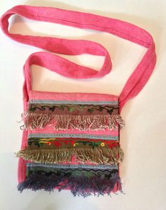 Pink Tassel Indian Cotton Sequin Brocade Hippy Boho Shoulder Messenger Bag