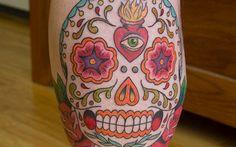 unusual hot pink sugar skull tattoos   35 Memorial Sugar Skull Tattoos this is the one!!!!!