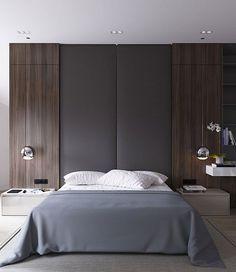 neutral modern apartment interior design by Anton Sukharev - bedroom headboard wall detail