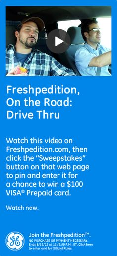 Freshpedition, On The Road: Drive Thru  - Watch this video on Freshpedition.com, then click the 'sweepstakes' button on that webpage to pin and enter it for a chance to win a $100 VISA® Prepaid card. Watch now.  #GEfreshSC