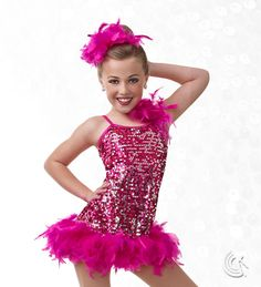 Curtain Call Costumes® - Ruffled Rumba Asymmetrical sequin mesh dress with nylon/spandex leotard and boa trim. INCLUDES: boa headdress. Troupe price: $65 AUD - $70 AUD