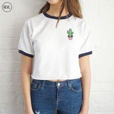 Cactus poche Crop sonnerie Top Shirt Tee recadrée par RevlApparel: