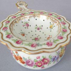 british porce,ain tea strainer | Antique DRESDEN Porcelain 2-Pc HP Tea Strainer PINK ROSES & Flowers ...