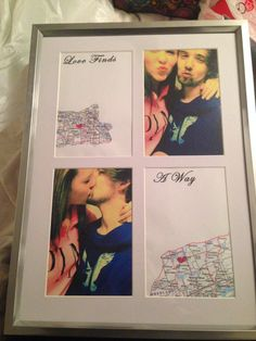 I made this picture frame for valentines day for my boyfriend! I used a map in two of the slots marking where we are, following it by a long distance quote and lastly a picture of us in the remaining spots! He loved it!