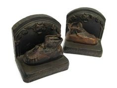 vintage bookends chalkware bookends metal baby by mudintheUSA