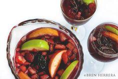 Red Wine Sangria -  Ingredients: 1 3/4 bottle of Merlot 8 oz. ginger ale 10 oz. fresh squeezed orange juice 4-6 oz. triple sec 1.5 orange, peeled and sliced (divide) 1 gala apple, diced 1 of Granny Smith apple, sliced 5 heaping tsps. refined sugar