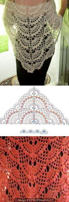 45 super Ideas for crochet lace wrap pattern Crochet Lace Scarf, Crochet Poncho Patterns, Crochet Shawls And Wraps, Shawl Patterns, Crochet Scarves, Lace Knitting, Crochet Clothes, Crochet Stitches, Knit Crochet