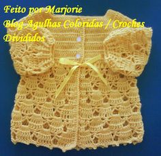 Colorful needles and Trico Croche: PAP Cardigan of Croche BEBE - Made by Bubbles Baby Girl Crochet, Crochet Baby Clothes, Crochet For Kids, Crochet Crafts, Crochet Projects, Filet Crochet, Knit Crochet, Crochet Designs, Crochet Patterns