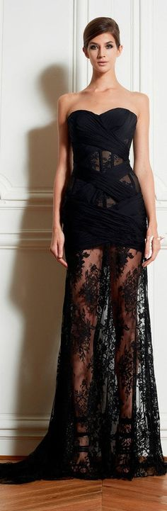 Zuhair Murad Dresses Sexy Black Lace Long Evening Dresses See Through Prom Dresses
