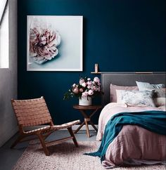 7 Sharing Tips AND Tricks: Minimalist Interior Diy White Bedrooms modern minimalist living room sliding doors.Minimalist Interior Living Room Decorating Ideas minimalist home tour modern. Dark Blue Walls, Dark Teal Bedroom, Midnight Blue Bedroom, Jewel Tone Bedroom, Mauve Bedroom, Green Walls, Blue Feature Wall Bedroom, Teal Walls, Floral Bedroom