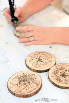 Wood Burned Coasters with Floral Pyrography - Garden Therapy
