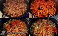 Kínai csípős csirkecsíkok Wok, Chili, Meat, Chicken, Ethnic Recipes, Chile, Chilis, Cubs
