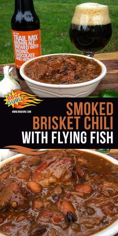 Smoked Brisket Chili with Flying Fish beer takes things to another level by substituting ground meat for Smoked Brisket and combining it with the flavors of Flying Fish. Smoked Brisket Chili Recipe, Bbq Brisket, Smoked Beef, Chili Recipes, Soup Recipes, Cooking Recipes, Bbq Guru, Meal Ideas, Dinner Ideas