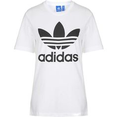 Trefoil Tee by Adidas ($32) ❤ liked on Polyvore featuring tops, t-shirts, shirts, blusas, adidas, white, sports t shirts, cotton tee, cotton logo shirts and white sport shirt