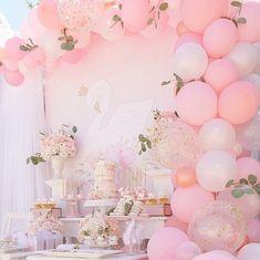 pink-swan-baby-shower-ideas-first-birthday-dessert-table