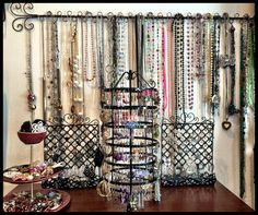 Jewelry organization jewelry display Pottery Barn card holder used to hang necklaces