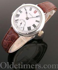 1916 round silver vintage Rolex 'Officers' watch Fine Watches, Cool Watches, Rolex Watches, Watches For Men, Vintage Omega, Vintage Rolex, Vintage Watches, Rolex Wrist Watch, Silver Rounds
