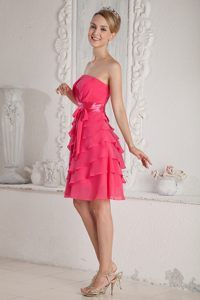 Hot Pink Strapless Knee-length Chiffon Prom Pageant Dresses with Layers and Sash