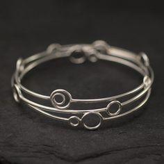 Sterling Silver Bangles- Silver Circle Bangles Set- 3 Sterling Silver Bangle Bracelets- Silver Bracelet- Sterling Silver Jewelry Handmade #HandmadeSilverJewelry