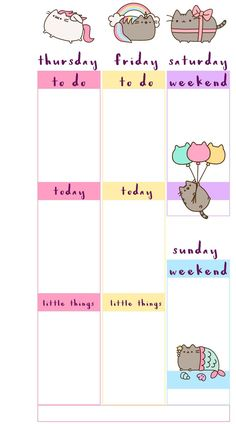 Free Printable Pusheen Inspired Planner Inserts. Week on 2 Pages,| A5 and A6 at PB and J Studio