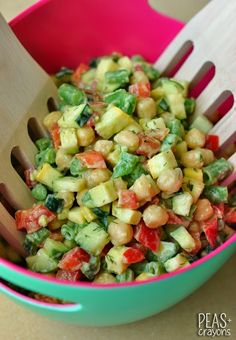 Farmer's Market Chickpea Chopped Salad with Creamy Avocado Dill Dressing