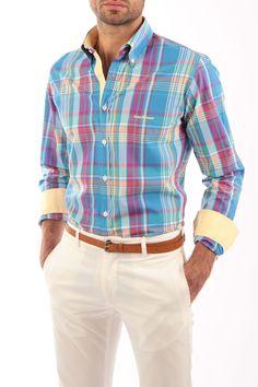 varios colores azul Camisa cielo base armonizados sobre de muy y en rayas Combinación cuadros ZqZvz