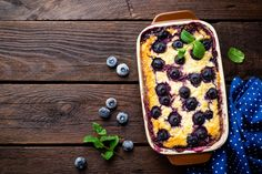 Baked Blueberry Cheesecake: We started with an indulgent one and we'll finish with one too. Make your own baked cheesecake for an indulgent, perfect-for-Sunday, comforting bake. Olive magazine has a recipe for this winner here. Flan, No Bake Blueberry Cheesecake, Bread And Butter Pudding, Cheer You Up, Recipes From Heaven, Sweet Notes, Chocolate, Comforters, Sunday