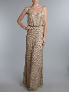 Adrianna Papell Evening Art deco beaded dress Taupe - House of Fraser
