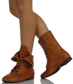 Amazon.com: Camel Faux Leather Lace-up Combat Folded Cuff Mid-Calf Nature Breeze Staci: Shoes